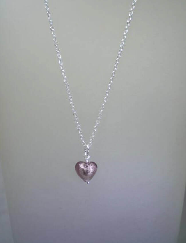 Amethyst Murano Heart necklace