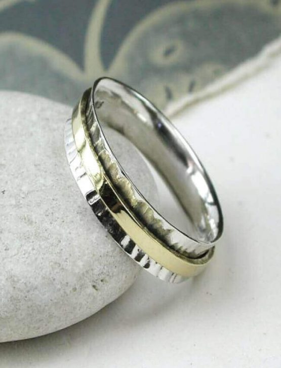 POM Hammered Silver & Brass Spinning Ring