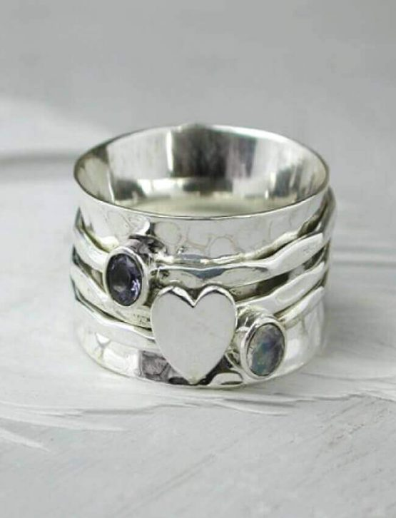 POM Heart & Stone Spinning Ring