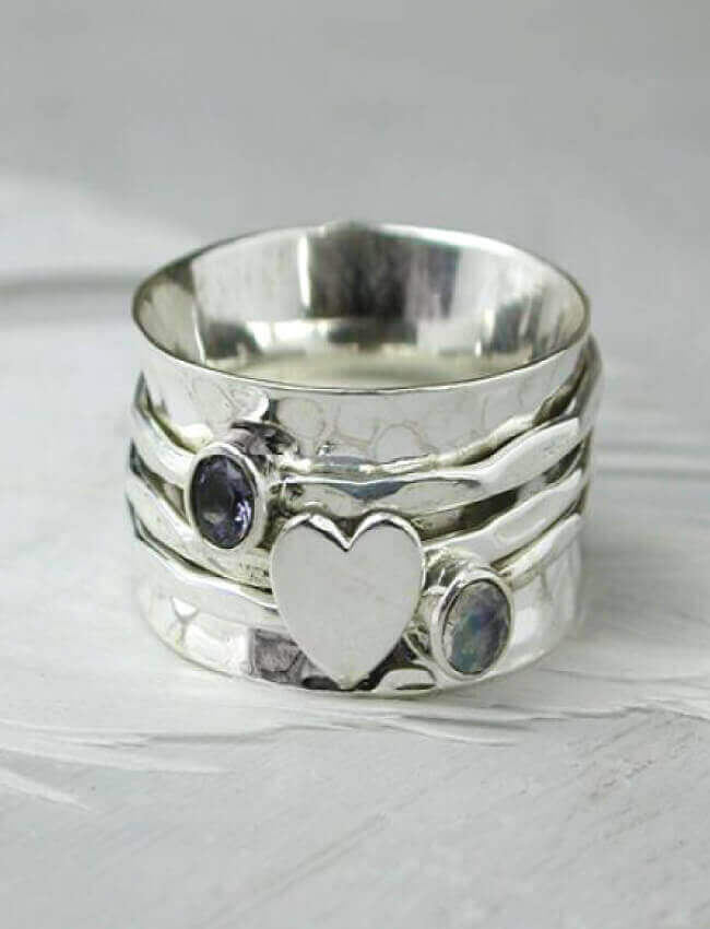 POM Heart & Stone Spinning Ring