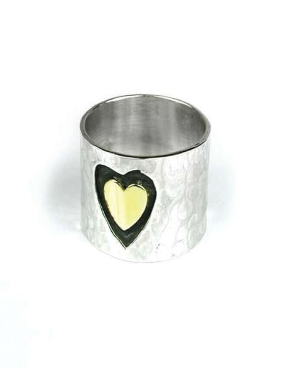 POM Wide Hammered Heart Ring